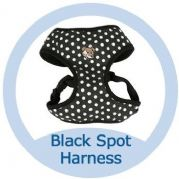 Soft Cotton Canvas Black Polka Dot Dog Harness - SMALL